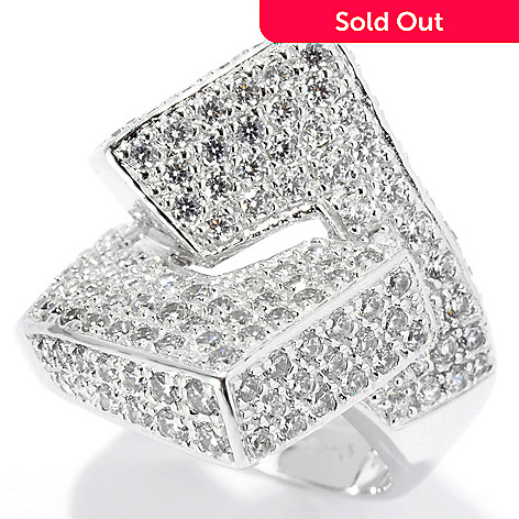 131-278 - Sonia Bitton Platinum Embraced™ 2.40 DEW Pave Simulated Diamond Geometric Ring