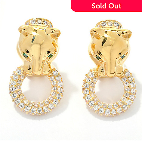 131-279 - Sonia Bitton 2.37 DEW Pave Simulated Diamond Panther Earrings w/ Omega Backs
