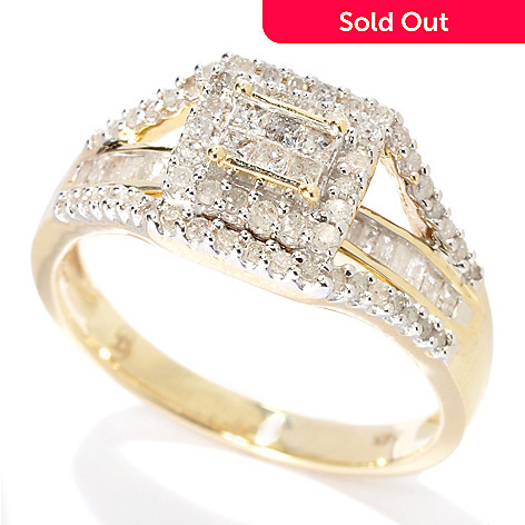 131-314 - Diamond Treasures 14K Gold 0.32ctw Diamond Invisible & Chanel Set Bridge Ring