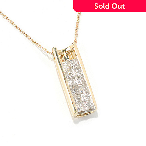 131-318 - Diamond Treasures 14K Gold 0.68ctw Invisible Set Diamond Drop Pendant w/ Chain