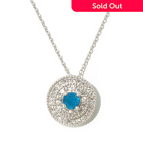 131-321 - Gem Treasures® Sterling Silver 1.30ctw Apatite & White Zircon Halo Pendant w/ Chain