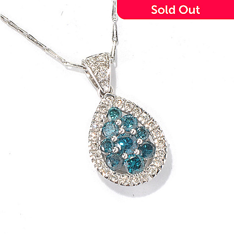 131-337 - Beverly Hills Elegance® 14K White Gold 0.99ctw Blue & White Diamond Pendant w/ 18'' Chain