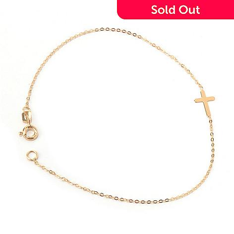 131-357 - Italian Designs with Stefano 14K Gold 7.5'' Polished Cross Bracelet