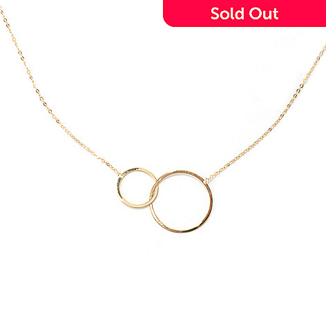 131-358 - Italian Designs with Stefano 14K Gold 18'' Double Circle Necklace. 0.95 grams