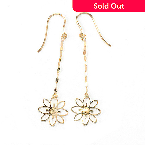 131-364 - Italian Designs with Stefano 14K Gold 2.25'' Petali D'Oro Dangle Earrings