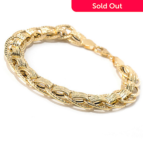 131-367 - Italian Designs with Stefano 14K Gold Textured Fancy Link Bracelet