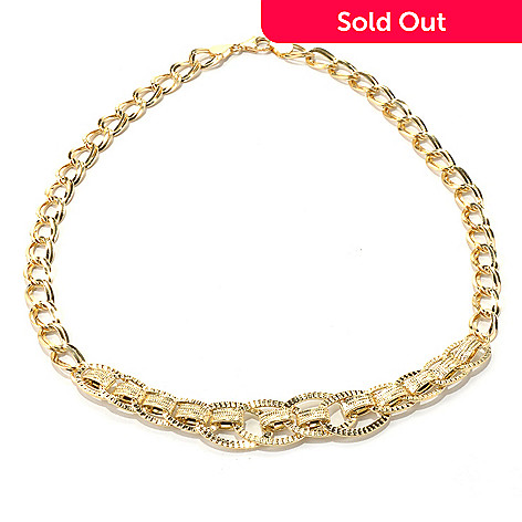 131-368 - Italian Designs with Stefano 14K Gold 18'' Textured Fancy Link Necklace