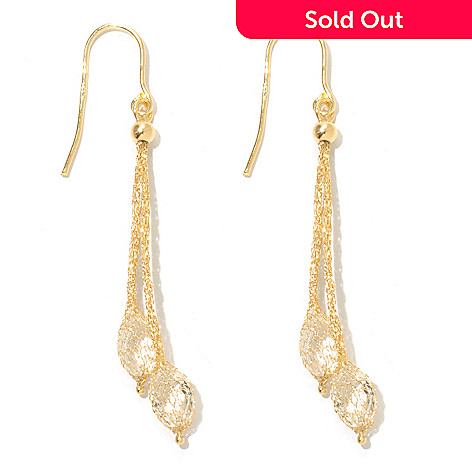 131-372 - Stefano Oro 14K Gold 2'' Rock Crystal Mesh Drop Earrings