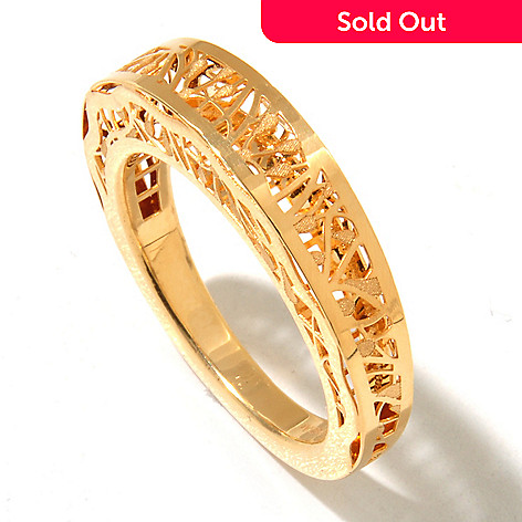 131-373 - Italian Designs with Stefano 14K Gold Polished & Satin Finished Ricami Ring