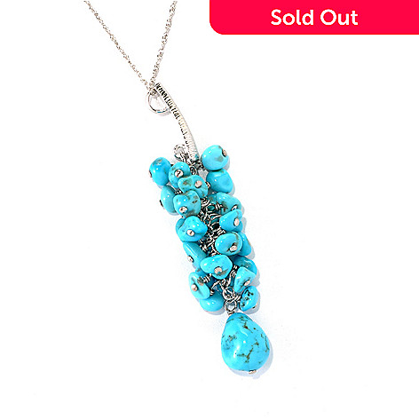 131-383 - Gem Insider® Sterling Silver American Turquoise Cluster Drop Pendant w/ Chain
