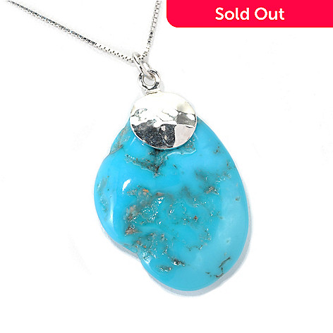 131-384 - Gem Insider™ Sterling Silver Freeform American Turquoise Pendant w/ 18'' Chain