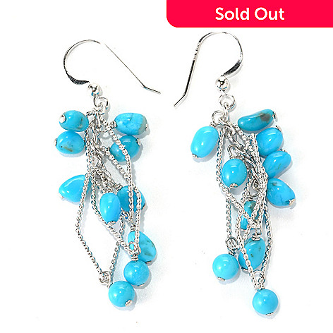 131-386 - Gem Insider™ Sterling Silver 2.5'' Sleeping Beauty Turquoise Dangle Earrings