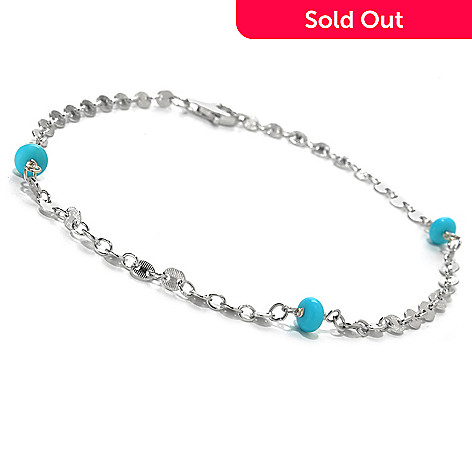131-389 - Gem Insider® Sterling Silver 11'' Sleeping Beauty Turquoise Station Anklet