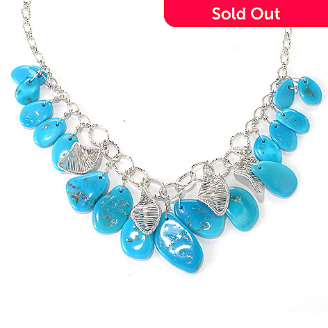 131-390 - Gem Insider™ Sterling Silver 18'' Freeform American Turquoise Link Necklace