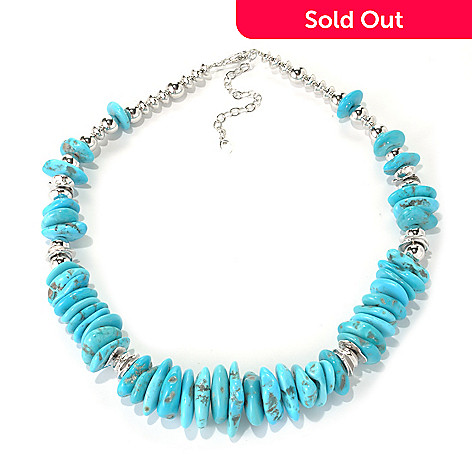 131-391 - Gem Insider® Sterling Silver 18'' Freeform American Turquoise Bead Necklace