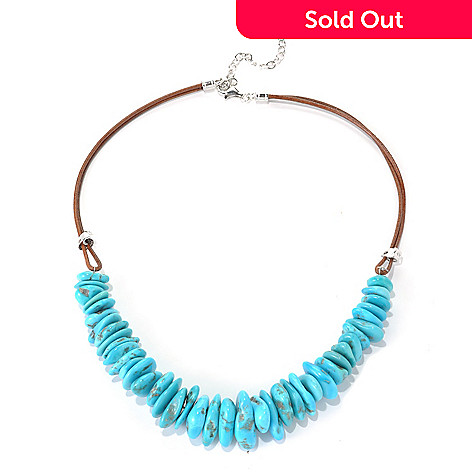 131-392 - Gem Insider™ Sterling Silver & Leather 18'' Freeform American Turquoise Necklace