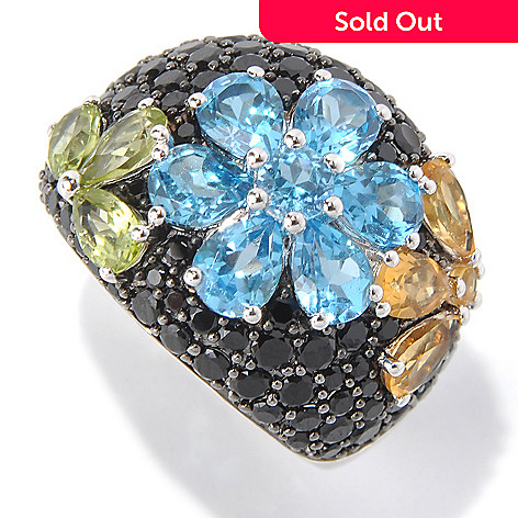 131-396 - Gem Treasures® Sterling Silver 5.00ctw Spinel & Multi Gemstone Flower Ring
