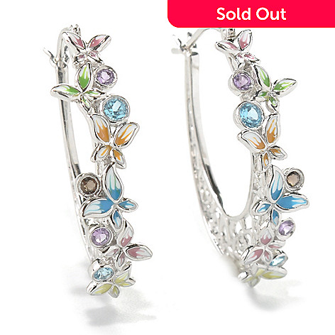 131-399 - Gem Treasures Sterling Silver 1.25'' Multi Gem & Enamel Butterfly Hoop Earrings