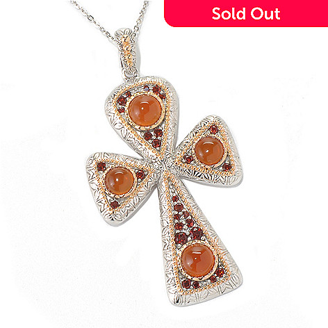 131-400 - Gem Insider Sterling Silver 4.23ctw Garnet & Carnelian Cross Enhancer w/ Chain