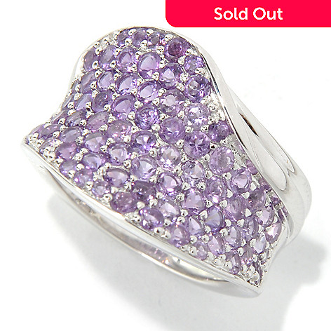 131-402 - Gem Insider Sterling Silver 1.96ctw Amethyst Concave Wave Ring