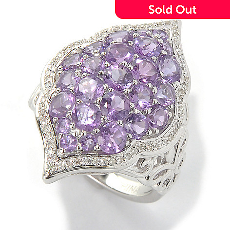 131-403 - Gem Insider™ Sterling Silver 2.62ctw Amethyst & Diamond Boardered Marquise Ring