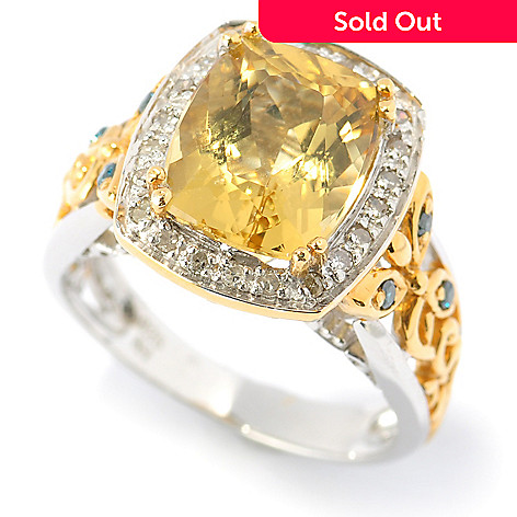 131-477 - The Vault from Gems en Vogue 4.00ctw Canary Beryl & Multi Diamond Ring