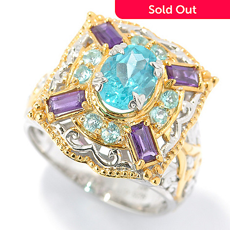 131-479 - The Vault from Gems en Vogue 2.25ctw Apatite & Amethyst Ring