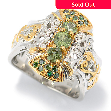 131-480 - The Vault from Gems en Vogue Tashmarine & Green Diamond Three-Stone Ring