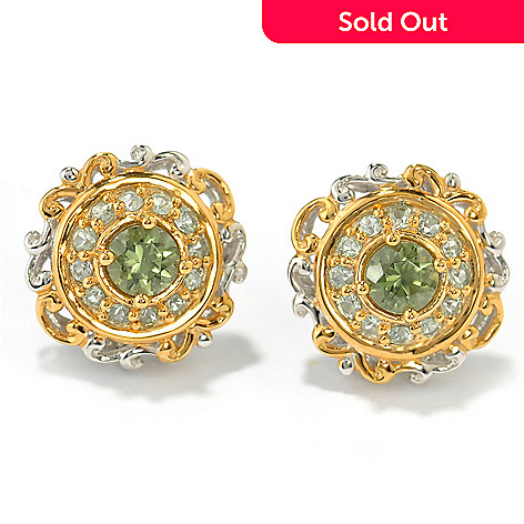 131-481 - The Vault from Gems en Vogue 1.04ctw Tashmarine & Green Sapphire Stud Earrings