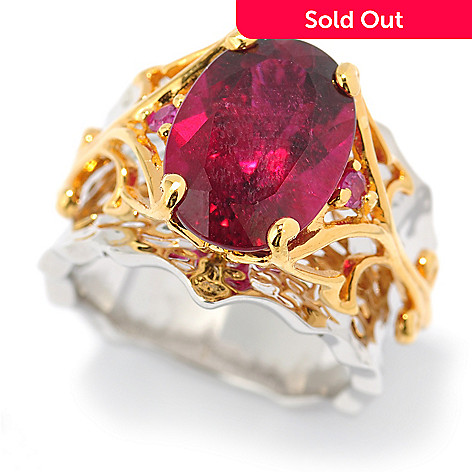 131-484 - The Vault from Gems en Vogue 6.11ctw Rubellite & Pink Ruby Hammered Ring