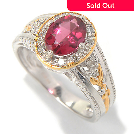 131-485 - The Vault from Gems en Vogue 1.38ctw Rubellite & Diamond Halo Ring