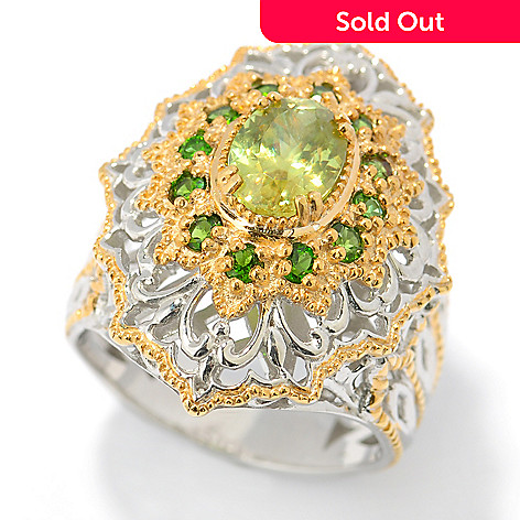 131-487 - The Vault from Gems en Vogue II 2.10ctw Sphene & Chrome Diopside Elongated Ring