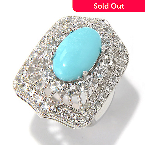 131-495 - Gem Insider™ Sterling Silver 14 x 8mm Turquoise & White Topaz Antique-Style Ring
