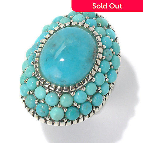 131-496 - Gem Insider Sterling Silver 15.5 x 13mm Oval & Round Turquoise North-South Ring