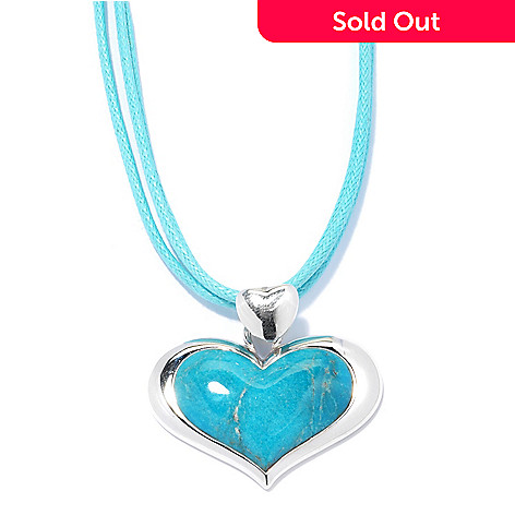 131-497 - Gem Insider™ Sterling Silver 29 x 17mm Heart Shaped Turquoise Pendant w/ Cord