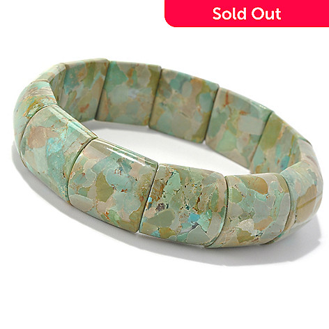131-498 - Gem Insider™ 7.5'' Green Turquoise Stretch Bracelet
