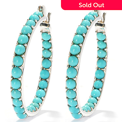 131-499 - Gem Insider™ Sterling Silver 1.25'' Turquoise Bead Inside-Out Hoop Earrings