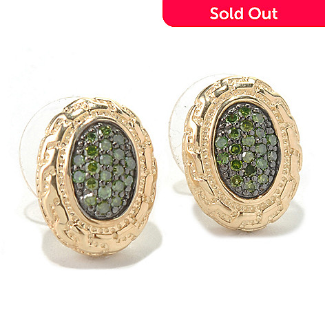 131-500 - Diamond Treasures® 0.32ctw Fancy Color Diamond Oval Earrings