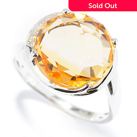 131-501 - Gem Insider® Sterling Silver 4.86ctw Citrine & Diamond Semi-Halo Wrap Around Ring