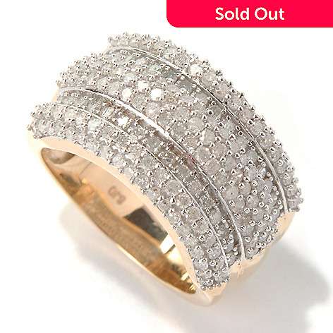 131-503 - Diamond Treasures 14K Gold 1.60ctw Diamond Five-Row Tri-Level Wide Band Ring