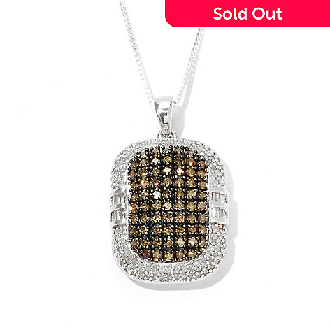 131-507 - Diamond Treasures Sterling Silver 1.00ctw Champagne & White Diamond Pendant w/ Chain