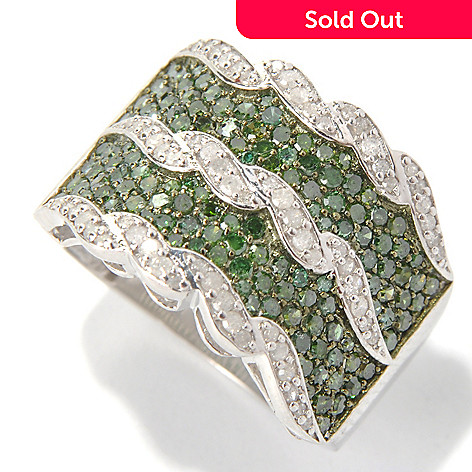 131-508 - Diamond Treasures Sterling Silver 1.50ctw Green & White Diamond Wide Band Ring