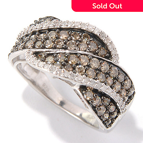 131-510 - Diamond Treasures Sterling Silver 1.25ctw Mocha & White Diamond Twisted Band Ring