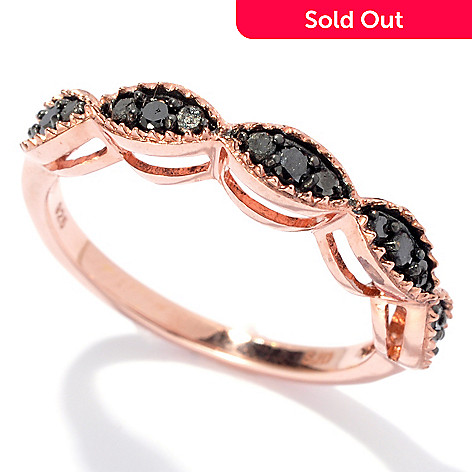 131-512 - Diamond Treasures Rose Gold Embraced™ 0.30ctw Black Diamond Marquise Row Ring