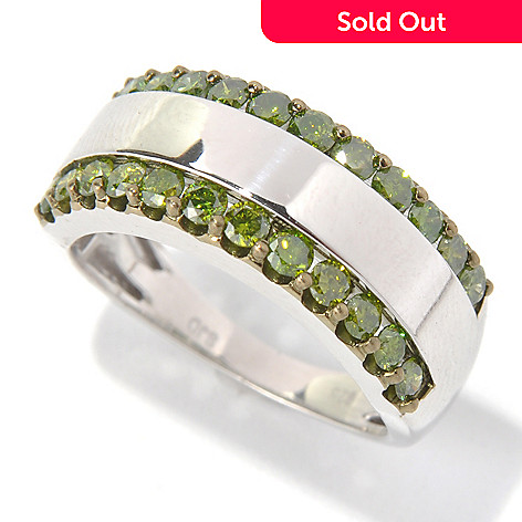 131-519 - Diamond Treasures Sterling Silver 1.00ctw Round Cut Green Diamond Two-Row Ring