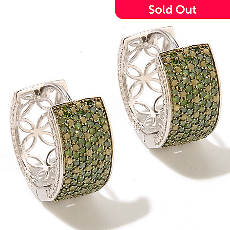 131-524 - Diamond Treasures Sterling Silver 1.00ctw Green Diamond Huggie Hoop Earrings