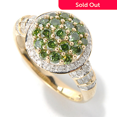 131-525 - Diamond Treasures® 14K Gold 1.21ctw Green & White Diamond Halo Cluster Ring