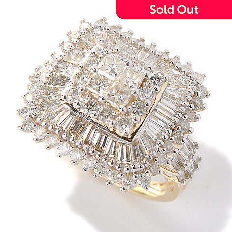 131-526 - Diamond Treasures 14K Gold 2.62ctw Diamond Square Shaped Multi Halo Ring