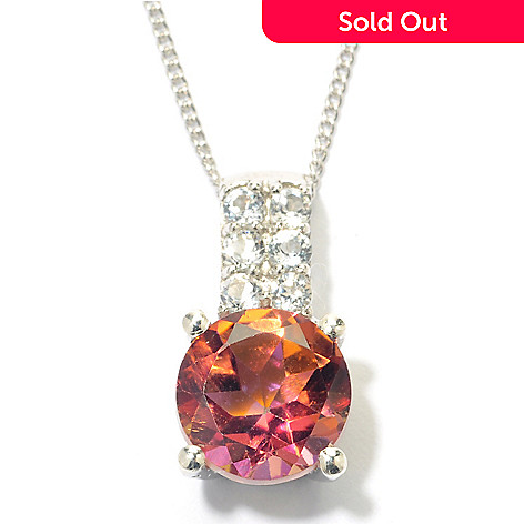 131-527 - Gem Treasures® Sterling Silver 2.07ctw Color & White Topaz Drop ''Kellie Anne'' Pendant w/ Chain