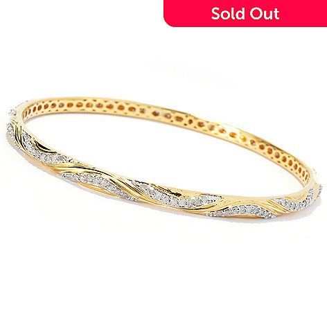 131-533 - Southport Diamonds Sterling Silver & 14K Vermeil Diamond Wave Bangle Bracelet